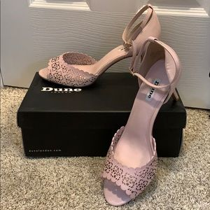 Dune Mylene Pink Leather Laser Cut Mid Sandal sz41